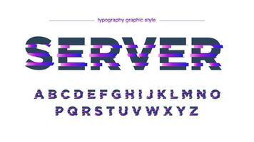 alfabeto futuristico di linee a fette viola al neon
