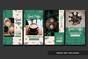 modello di storia social media caffetteria vettore