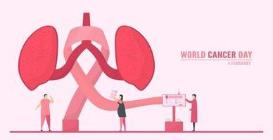 Giornata mondiale contro il cancro con persone che diffondono consapevolezza vettore