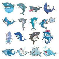 set di squalo del fumetto vettore