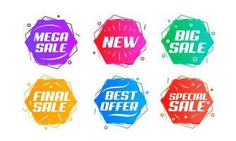 set colorato di badge vendita esagono