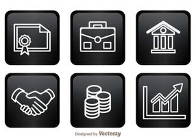 Icone della banca sui quadrati neri vettore