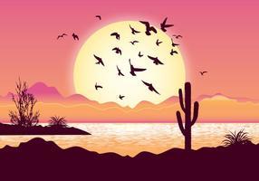 Illustrazione di uccelli volanti