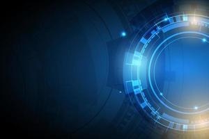 sfondo blu tecnologia con disegno cerchio incandescente vettore