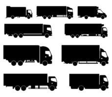 icona del camion impostata in nero vettore