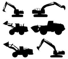 collezione di icone nere dell'escavatore