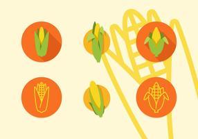 Icone piane di vettore di spiga di grano