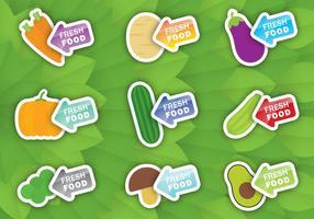 Vettori di etichette veggie