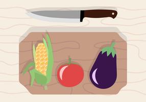Verdure gratis e tagliere vettoriale