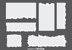 Vettori di carta strappati in bianco