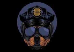 illustrazione di polizia rottweiler vettore