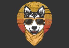illustrazione retrò tramonto husky vettore
