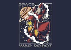 illustrazione del robot di guerra spaziale vettore