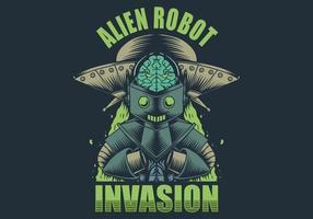 illustrazione di invasione robot alieno