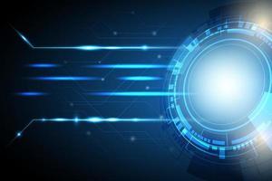 cerchio blu incandescente tecnologia sfondo vettore