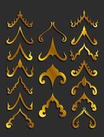 elementi dorati di disegno di arte tailandese vettore