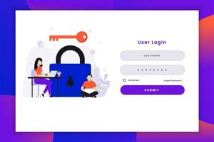 illustrazione di accesso utente con chiave vettore