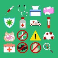 risorsa pandemica icona piatto virus vettore