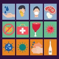 icona piana di pandemia di virus medico