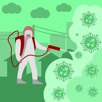 paramedico nel disinfettante a spruzzo di hazmat