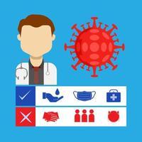 medico con icone di prevenzione virus vettore