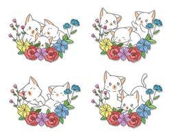 gatti disegnati a mano con set di fiori vettore