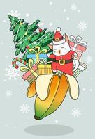 gatto di Babbo Natale con doni e albero di Natale in buccia di banana vettore