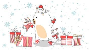 orso polare con gatti che si arrampicano su di lui nel mezzo di doni