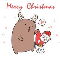 renna del fumetto che tiene il gatto di Santa