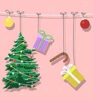 albero di natale e decorazioni natalizie design vettore