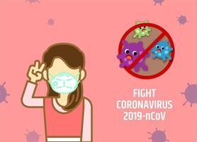 donna con mascherina medica in lotta contro il coronavirus.