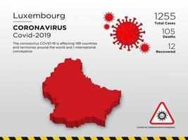 Lussemburgo ha interessato la mappa del paese del coronavirus
