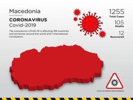 la mecedonia ha interessato la mappa del paese del coronavirus vettore