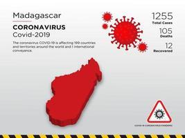 mappa del paese colpita dal Madagascar del coronavirus