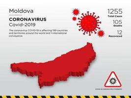 Moldavia ha interessato la mappa del paese del coronavirus