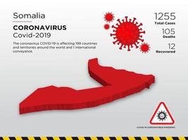 la somalia ha interessato la mappa del paese del coronavirus vettore