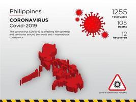 filippine interessate mappa del paese di coronavirus vettore