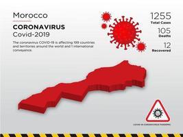 il marocco ha interessato la mappa del paese del coronavirus vettore