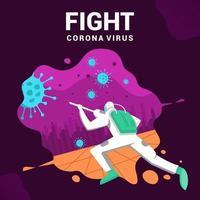 uomo che combatte il poster del virus corona