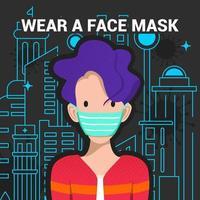 indossare un poster corona virus maschera facciale vettore