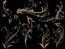 set di ornamenti floreali vintage oro
