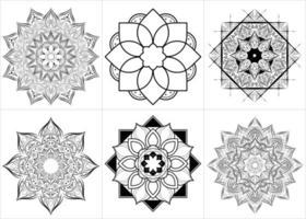 insieme di stile floreale di Mandala vettore