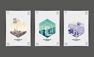 relazione annuale copre con immagini a forma esagonale vettore