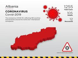 albania ha interessato la mappa del paese della diffusione del coronavirus