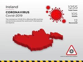 Irlanda Mappa del paese interessata della diffusione del coronavirus