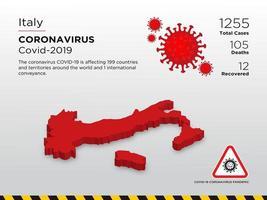 mappa del paese interessato dell'Italia della diffusione del coronavirus vettore