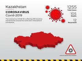 il kazakistan ha interessato la mappa del paese della diffusione del coronavirus vettore