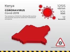 Kenia ha interessato la mappa del paese della diffusione del coronavirus vettore
