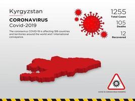 il Kirghizistan ha interessato la mappa del paese del coronavirus