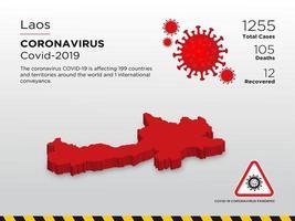laos mappa del paese interessato del coronavirus